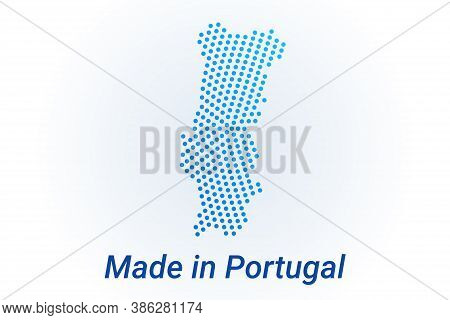 Map Icon Of Portugal. Vector Logo Illustration With Text Made In Portugal. Blue Halftone Dots Backgr