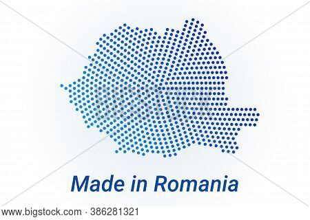 Map Icon Of Romania. Vector Logo Illustration With Text Made In Romania. Blue Halftone Dots Backgrou