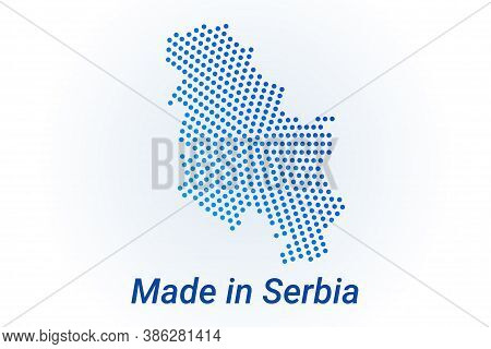 Map Icon Of Serbia. Vector Logo Illustration With Text Made In Serbia. Blue Halftone Dots Background