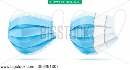 Set Of 3 Ply Disposable Face Masks. Blue Medical Mask With Inner Material Sections. Coronavirus Dise