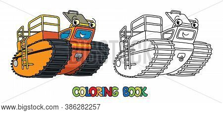 Funny Rover Car Or Amphibious Vehicle Coloring Book