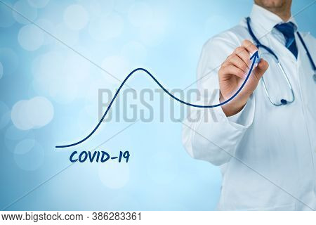 Doctor Practitioner Prepare For A Second Wave Of Covid-19 Concept. Doctor Draw Graph Of Number Of In