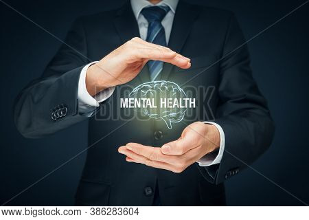 Protect Your Mental Health Psychology Concept. Psychologist With Protective Hand Gesture And Symbol