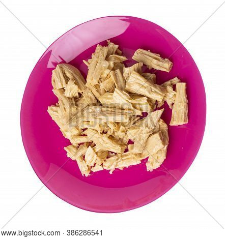 Soy Asparagus Noodles On Pink Plate, Isolated On A White Background. Healthy Food . Asian Food. Soy