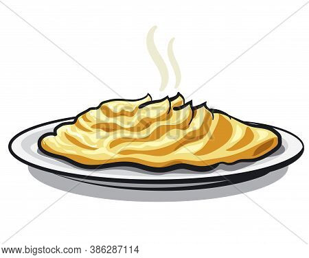 Illustration Of The Hot Mashed Potato On The Plate