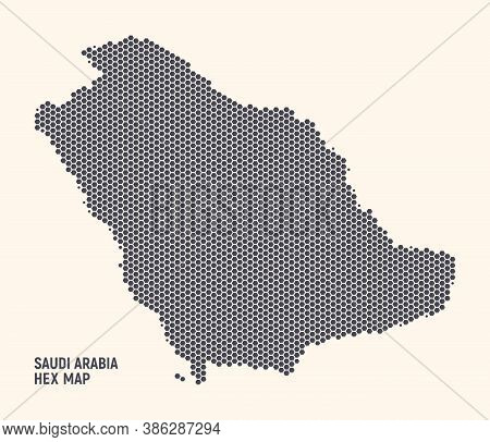 Hex Saudi Arabia Kingdom Map Vector Isolated On Light Background. Hexagonal Halftone Texture Of Saud