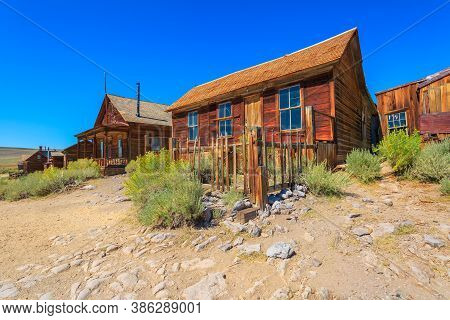 Old Cameron House In Bodie State Historic Park Of The 1800s With Front Porch. Californian Ghost Town