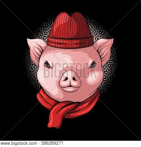 Pig Head Wear Beanie And Scarf Vector Illustration For Your Company Or Brand