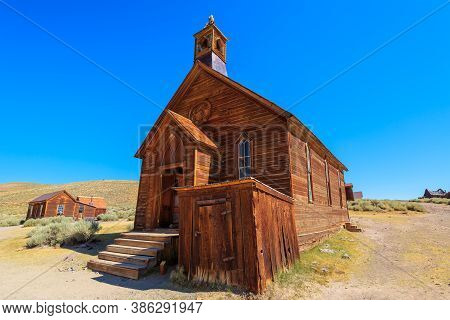 Bodie State Historic Park Of California, United States Of America. Methodist Church Of 1882 With Bel