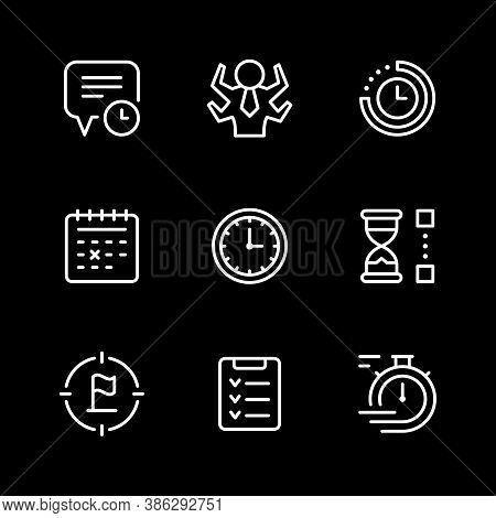 Set Line Icons Of Time Management Isolated On Black. Contains Such Icons As Watch, Calendar, Time Pe