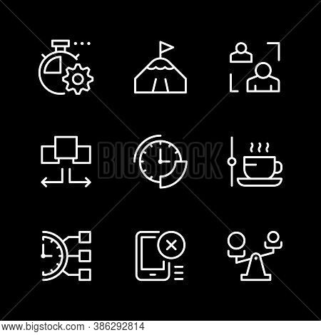 Set Line Icons Of Time Management Isolated On Black. Contains Such Icons As Watch, Coffee Break, Tim