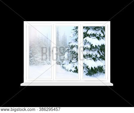 Window Overlooking Winter Forest. Panorama To Snowy Trees From Room Windows. Window With View Of New