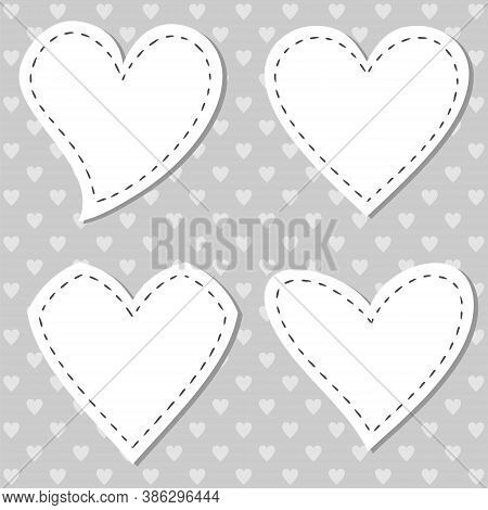 Hand Drawn Heart Labels. Heart Tag. Stickers For Love Messages. Vector Valentines. Sewn Empty Heart.