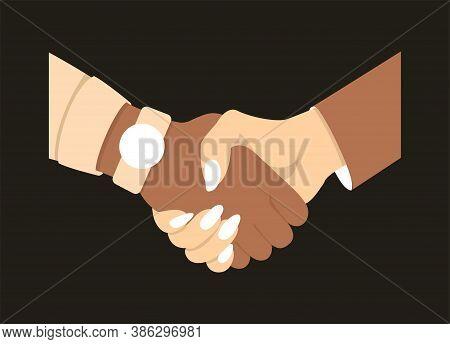Handshake Men And Women. Handshake Of Business People Partners Businessmen And Businesswomen.