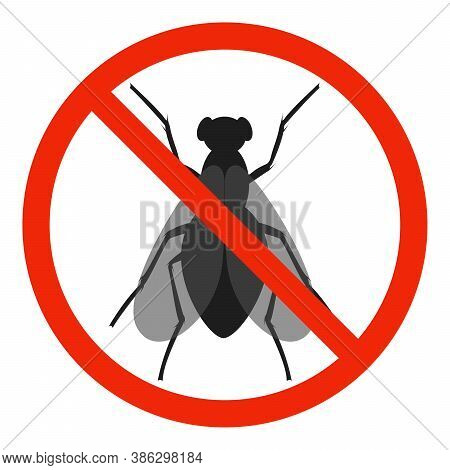 The Fly With Red Ban Sign. Stop Fly Sign Isolated. No Fly Icon. Vector Illustration.