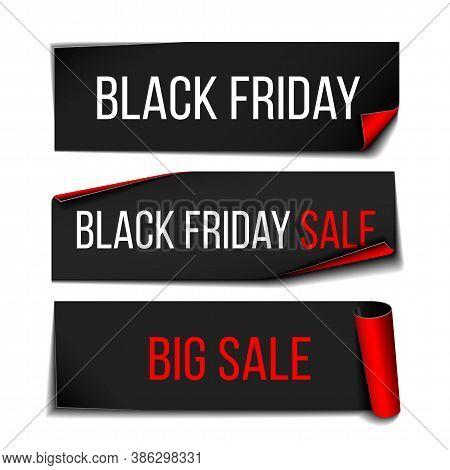 Black Realistic Curved Paper Banner Ribbon For Black Friday Super Sale.
