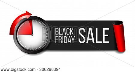 Black Realistic Curved Paper Banner Ribbon With Timer For Black Friday Super Sale.