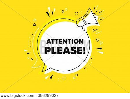 Attention Please. Megaphone Yellow Vector Banner. Special Offer Sign. Important Information Symbol.