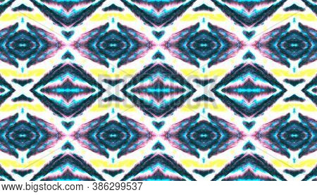 Folk Tribal Seamless Pattern. Geometric Native Decoration. Yellow, Blue And Black Ethnic Print. Bohe