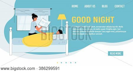 Mother Reading Fairytale Story To Child In Evening. Bedtime. Mom Putting Daughter Into Bed. Family D