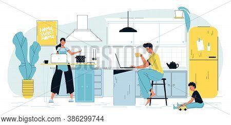 Freelancer Man Parent Working On Laptop Online. Woman Engaged In Cooking Housekeeping. Child Playing