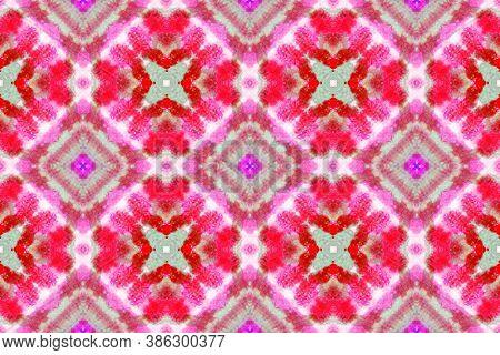 Azulejos Pattern. Abstract Aquarelle Ceramic. Handdrawn Decoration. Shibori Ethnic Print. Red Spanis