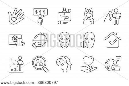 Hold Heart, Search Employees And Face Biometrics Line Icons Set. Oculist Doctor, Stats And Journey P