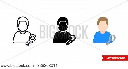 Key Keeper Icon Of 3 Types Color, Black And White, Outline. Isolated Vector Sign Symbol.