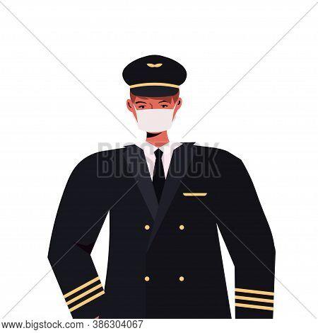 Pilot In Uniform Wearing Mask To Prevent Coronavirus Pandemic Self Isolation Labor Day Celebration C