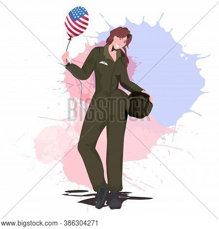 Female Pilot In Uniform Holding Balloon With Usa Flag Happy Labor Day Celebration Aviation Concept F