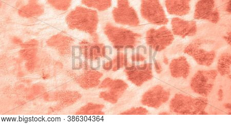 Animal Giraffe Pattern. Red Animal Texture. Graphic African Jungle Ornament Design. Ink Painted Zoo