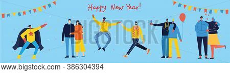 Vector Cartoon Illustration Of Happy Group Of People Celebrating New Year, Jumping On The Party. The