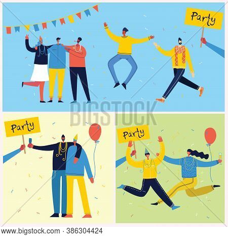Vector Cartoon Illustration Of Happy Group Of People Celebrating, Jumping On The Party. The Concept