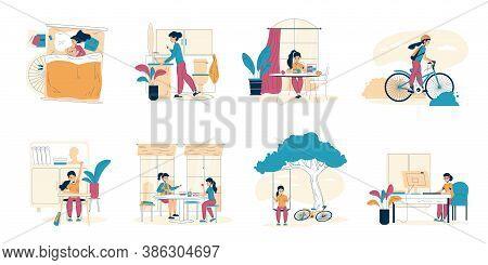 Schoolgirl Everyday Schedule, Daily Life Scene Set. Healthy Habit As Good Night Sleep, Morning Hygie