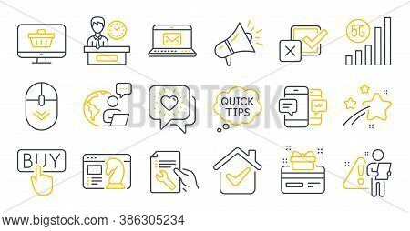 Set Of Technology Icons, Such As Presentation Time, Loyalty Card, Web Shop Symbols. Friends Chat, 5g