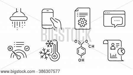 Chemical Formula, Report And Shower Line Icons Set. Technical Documentation, Hold Smartphone And Fre