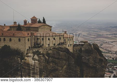 Rocky Monastery Moody Melancholy Landscape Scenic View In Cloudy Weather Time Religion Pilgrimage De