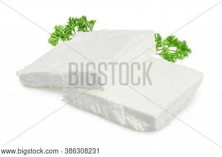 Feta Cheese Isolated On White Background. With Clipping Path And Full Depth Of Field