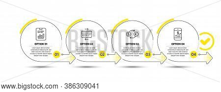 Report Document, Credit Card And Currency Exchange Line Icons Set. Timeline Process Infograph. Mobil