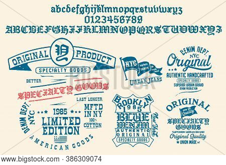 Craft Retro Vintage Typeface Design. Youth Fashion Type. Textured Alphabet. Pop Modern Display Vecto