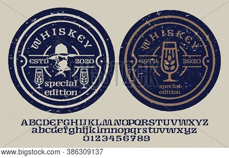 """Vintage Decorative Font  """"whiskey"""" With Sample Design. Good Handcrafted Western Typeface In Vintage"""