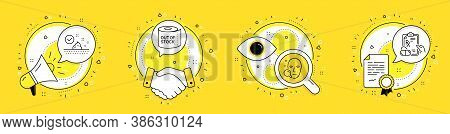 Toilet Paper, Skin Care And Face Search Line Icons Set. Megaphone, Licence And Deal Vector Icons. Pr