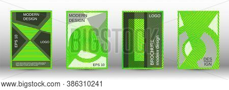 Green Modern Design Template In Trendy Style. Line Pattern. Trendy Illustration. Minimal Concept.