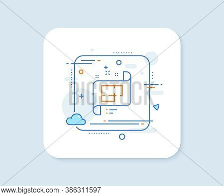 Architectural Plan Line Icon. Abstract Square Vector Button. Technical Project Sign. Architectural P