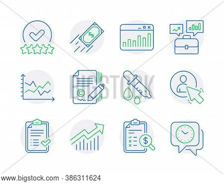 Education Icons Set. Included Icon As Demand Curve, Chemistry Pipette, Diagram Chart Signs. Accounti