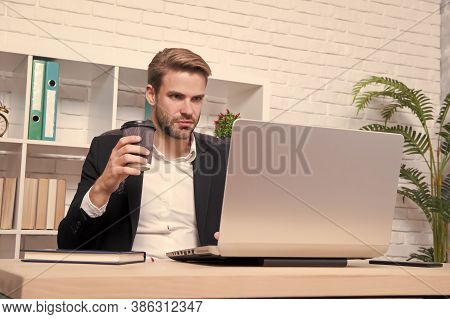 Starting Own Business. Ceo Head Office Concept. Business Development. Businessman Drinking Coffee. C