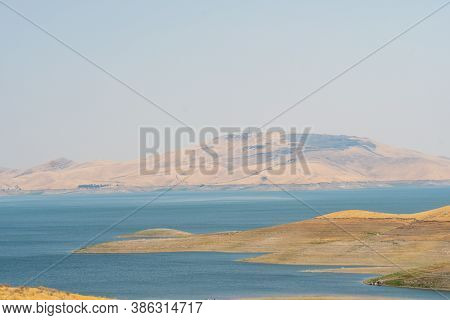 The San Luis Reservoir During Dry And Hot Season, Artificial Lake On San Luis Creek In The Eastern S