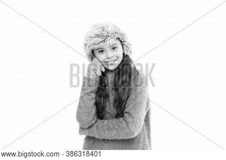 Adorable Child Long Hair Soft Fur Hat. Child Care Concept. Girl Long Hair Wear Fur Hat White Backgro