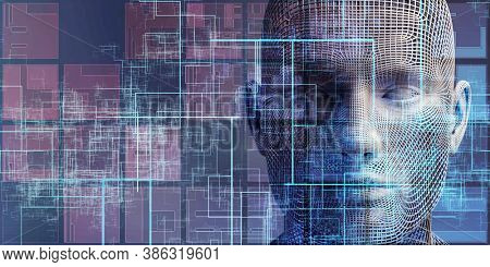 Self Learning Technology with Artificial Intelligence Brain Stem 3d render