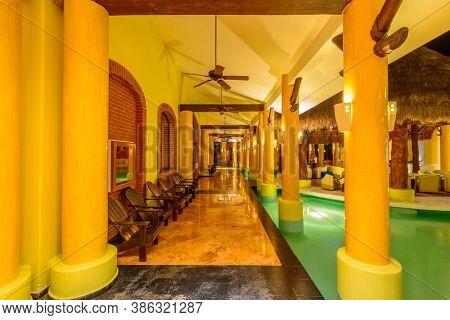 Cancun, Yucatan Peninsula, Mexico, October 31, 2015: Beautiful Hotel or Resort Lobby at Night in Iberostar Resort.
